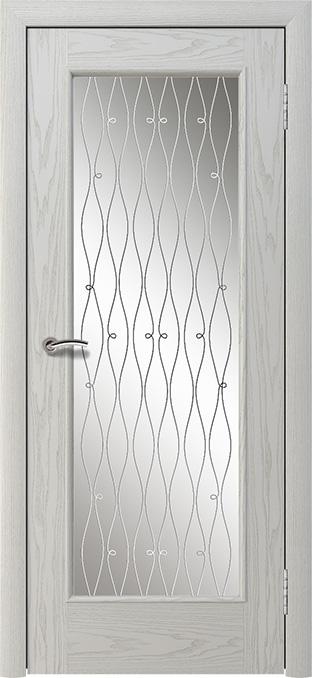 шпонированная дверь - дуб белый