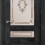 шпонированная дверь - дуб черный патина серебро