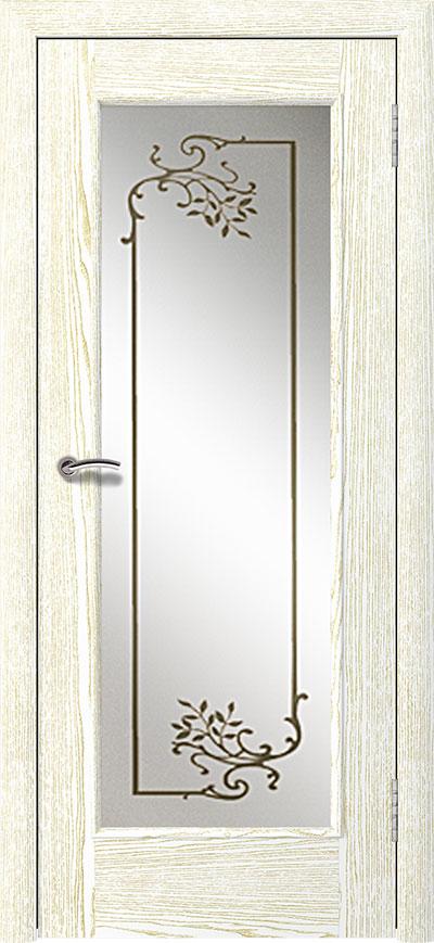 шпонированная дверь - дуб белый патина золото