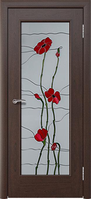 шпонированная дверь - красное дерево