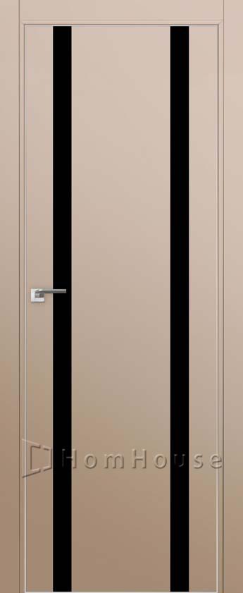Дверь 9E Капучино Сатинат черный лак