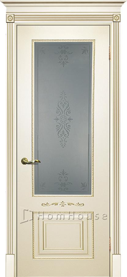 Дверь Смальта 04 Слоновая кость золото